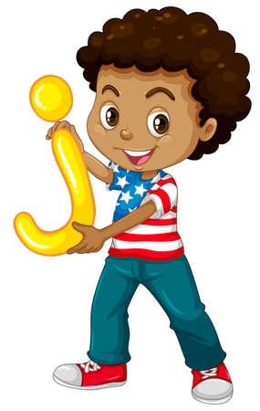 happy children: Little boy with letter J illustration Illustration