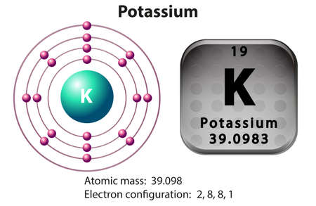 electron: Symbol and electron diagram for Potassium illustration Illustration