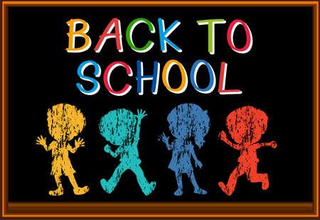 child studying: Back to school sign illustration Illustration