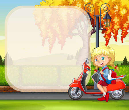 kids background: Border design with girl and motorcycle in the park illustration Illustration