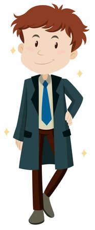 overcoat: Man wearing new overcoat illustration Illustration
