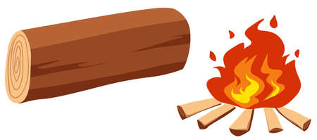 log: Campfire and single log illustration