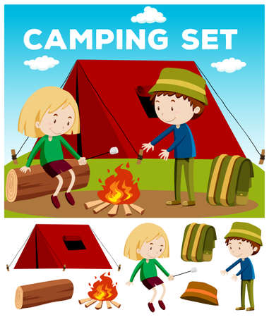 hot woman: Boy and girl camping out illustration