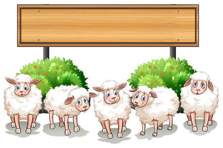 and sheep: Ovejas y signo de la ilustración de madera Vectores