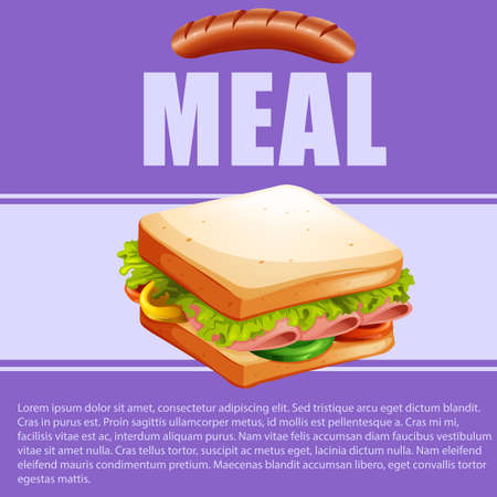 sandwich: Food theme with sandwich and text illustration