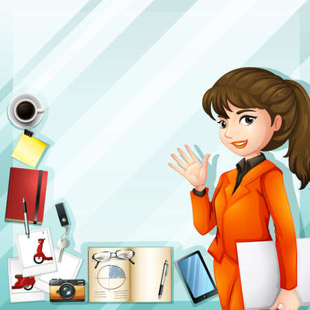 office worker: Office worker and other accessories illustration