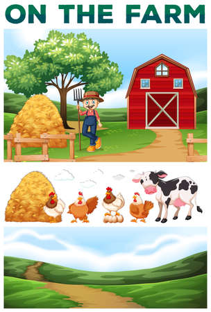rural scene: Farmer and animals on the farm illustration