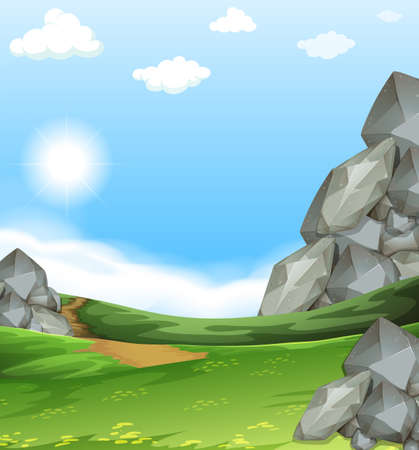 dirtroad: Nature scene with field and stones illustration