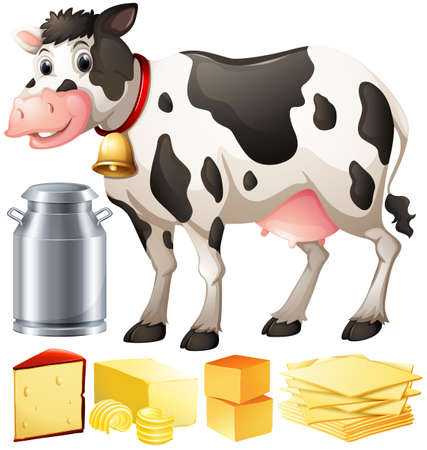 butter: Cow and other dairy produtcs illustration