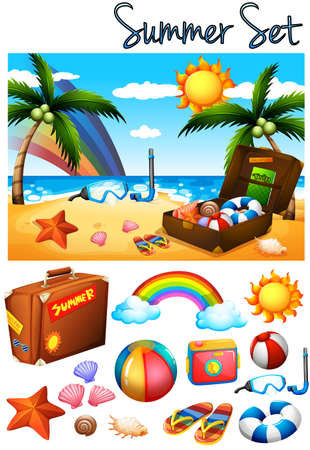 sandles: Summer theme with toys on the beach illustration Illustration