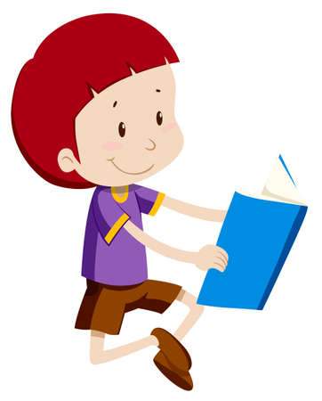 young boy smiling: Boy reading a book alone illustration Illustration