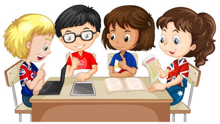 Boys and girls working in group illustration Zdjęcie Seryjne - 46911266