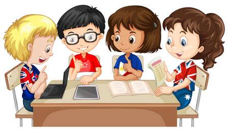 Jungen und Mädchen in der Gruppe Abbildung Arbeits