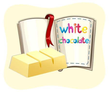 barra de chocolate: Barra de chocolate blanco y una ilustraci�n de libros Vectores