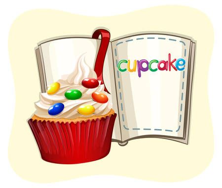 cupcake illustration: Decorated cupcake and a book illustration