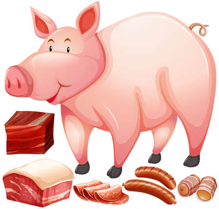 bacon art: Pig and meat product illustration