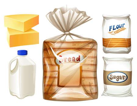 flour: Conjunto de los alimentos con pan y leche ilustración