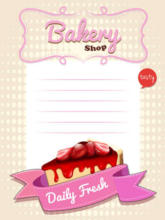 cheesecake: Paper design with strawberry cheesecake illustration