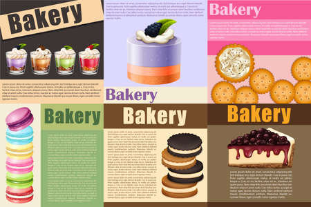 cheesecake: Paper design with different kind of bakery illustration