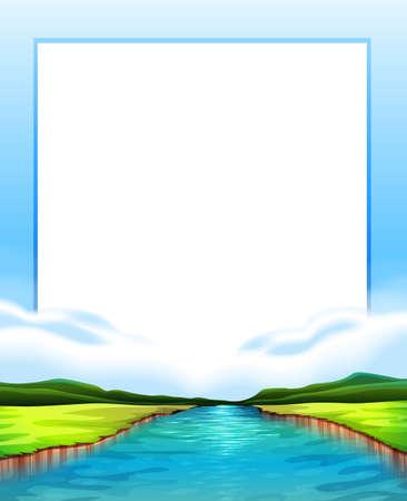 hills: Border design with river scene illustration