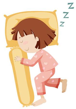 snoring: Girl in pajamas sleeping alone illustration Illustration