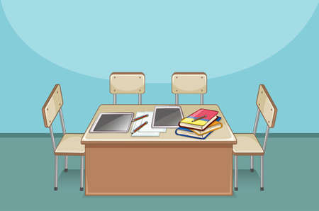 empty table: Empty classroom with books on the table illustration