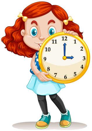 o'clock: Girl holding a round clock illustration Illustration