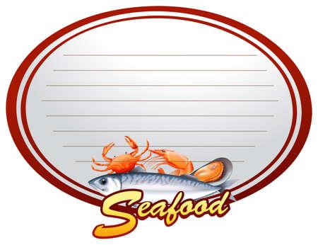 border template with different kinds of seafood illustration rh 123rf com Fish Border Clip Art Orange Border Clip Art