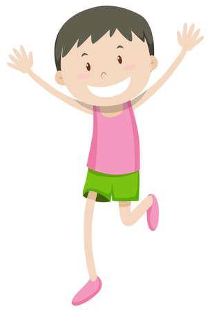 ethnicity happy: Happy man running alone illustration Illustration