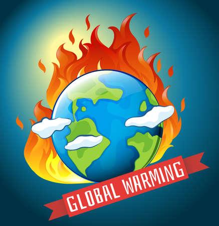 calentamiento global: El tema del calentamiento global con la tierra en la ilustración del fuego Vectores