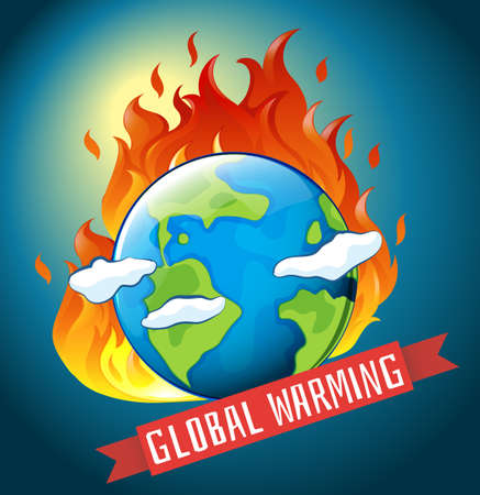 Global warming theme with earth on fire illustration Illustration