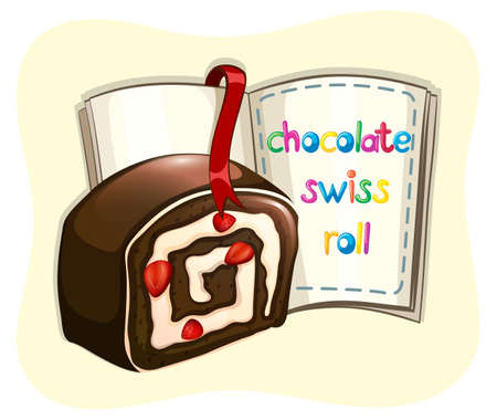 swiss roll: Chocolate swiss roll and a book illustration