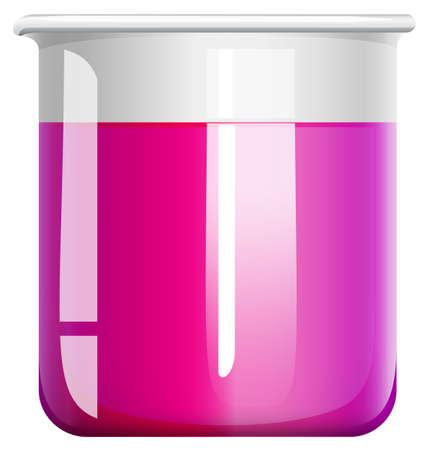 biology lab: Pink liquid in beaker glass illustration Illustration