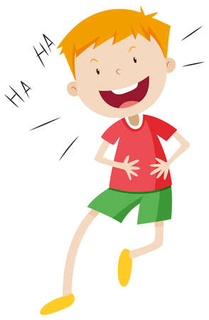 people laughing: Little boy with happy face illustration