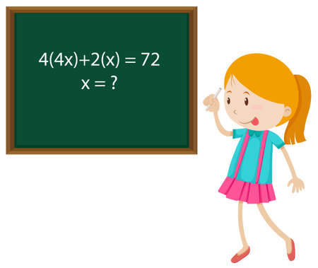 cartoon kid: Little girl solving math problem illustration
