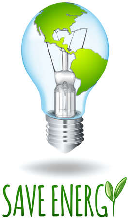 greenhouse effect: Save energy theme with earth on lightbulb illustration