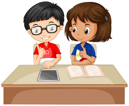 learning computer: Boy and girl working together illustration