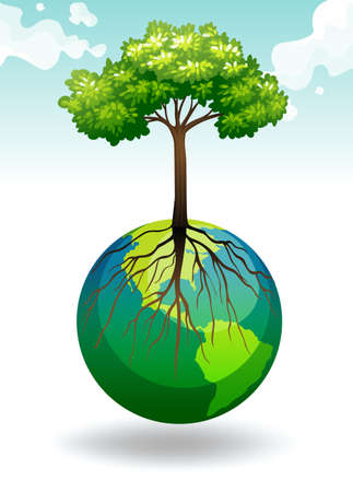 planet earth: Tree growing on Earth illustration Illustration