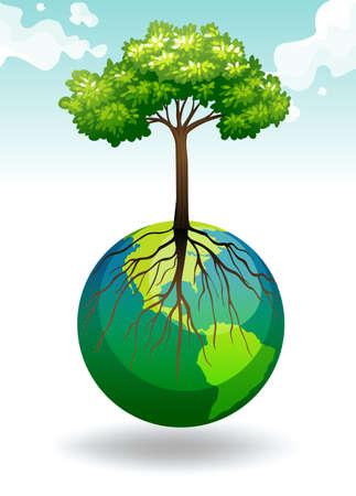 greenhouse effect: Tree growing on Earth illustration Illustration
