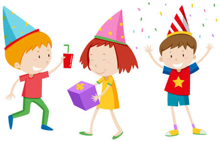 multiple ethnicities: Children with party hats illustration