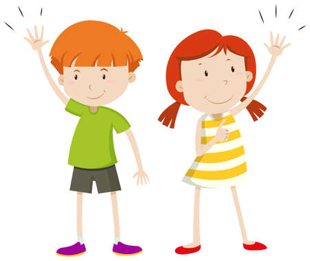 right handed: Boy and girl having their hands up illustration Illustration