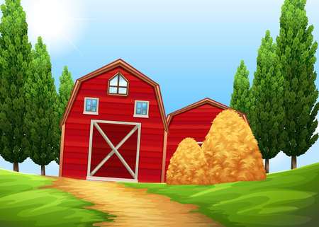 drawing trees: Barns and haystack in the farmland illustration