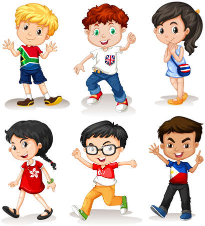 multiple ethnicities: Boys and girls from different countries illustration