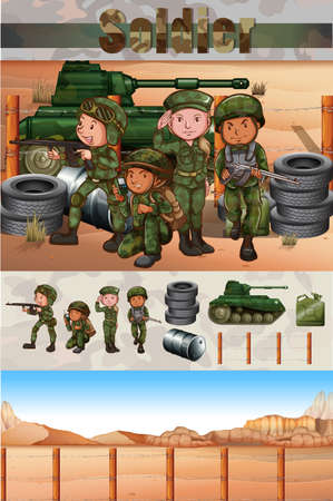 Soldiers fighting in the battle field illustration Ilustração
