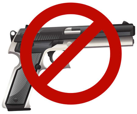 gun control: Gun control sign with firegun illustration
