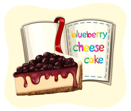 Blueberry cheesecake and a book illustration