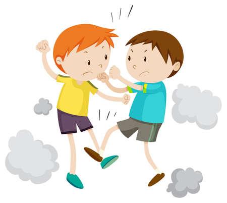 ilustracion: Dos niño luchando entre sí ilustración