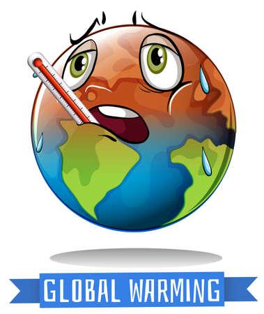지구 녹는 일러스트와 함께 지구 온난화 기호 일러스트