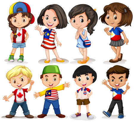 international students: Boys and girls from different countries illustration