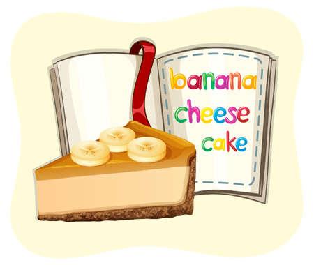 fruit cake: Banana cheesecake and a book illustration